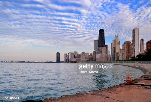 Chicago Lakeshore and Skyline at Sunset : Stock Photo