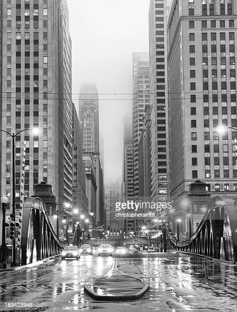 Chicago LaSalle Boulevard in Rain
