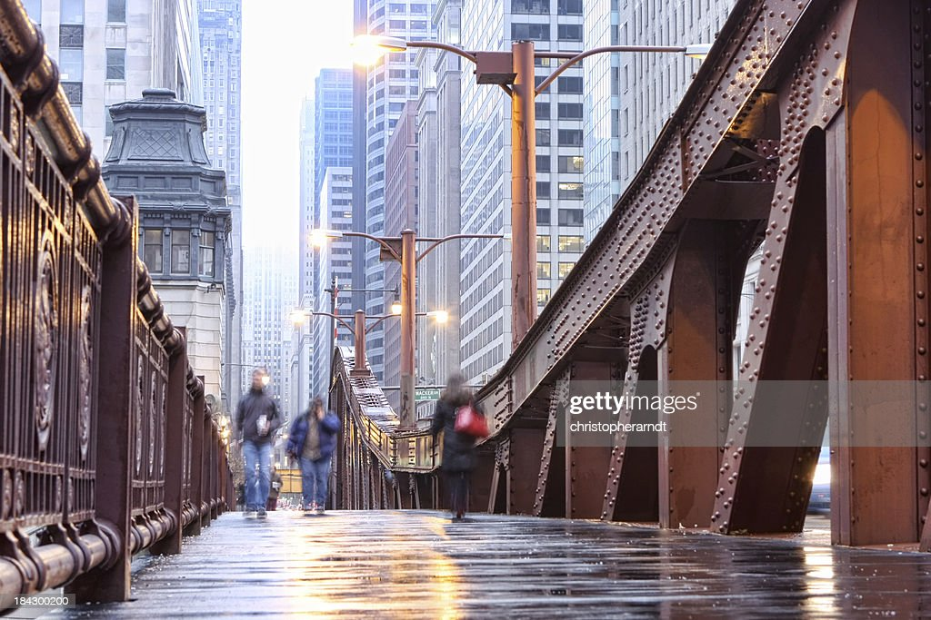 Chicago LaSalle Street Bridge Sidewalk : Stock Photo