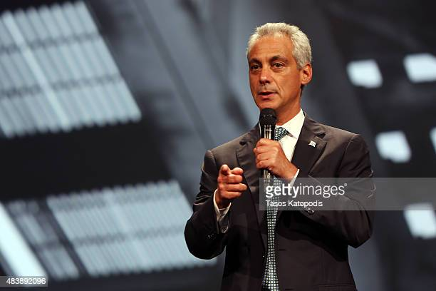 Chicago Mayor Rahm Emanuel attends the Inspirational Forum during Opportunity Fair and Forum on August 13 2015 in Chicago Illinois