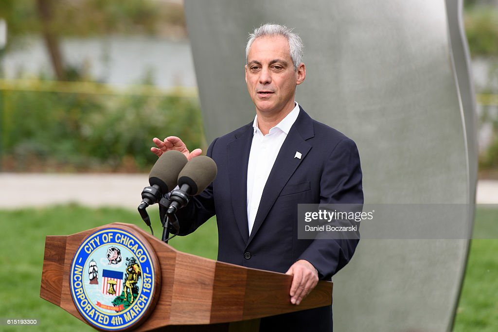 Chicago Mayor Rahm Emanuel attends the Project 120 Skylanding unveiling at Jackson Park on October 17, 2016 in Chicago, Illinois.