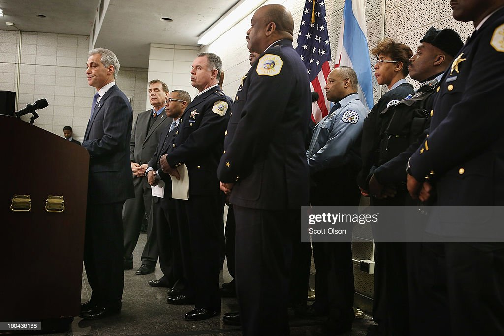 Chicago Mayor Rahm Emanuel discusses a plan to reassign 200 police officers from administrative duties back to patrol duties during a press conference on January 31, 2013 in Chicago, Illinois. Chicago has been faced with a rising murder rate largely attributed to an increase in gang related violence. Last year the city had more than 500 murders. The city has had more than 40 murders in January 2013, surpassing the total for January 2012.