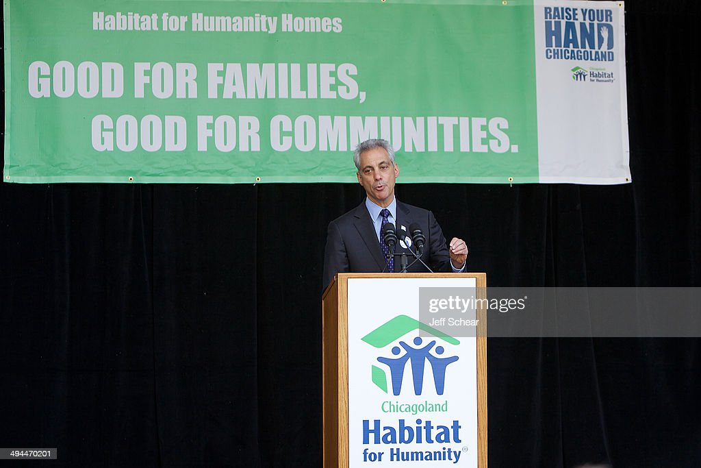 Chicago Mayor <a gi-track='captionPersonalityLinkClicked' href=/galleries/search?phrase=Rahm+Emanuel&family=editorial&specificpeople=753774 ng-click='$event.stopPropagation()'>Rahm Emanuel</a> helps kick off Habitat for Humanity's 'Raise Your Hand Chicagoland,' an unprecedented building blitz in the heart of downtown Chicago. From May 29 through June 1 at Pioneer Court Plaza, volunteers will come together with partner families to complete the initial construction of 13 homes. Immediately following, these new homes will be taken into communities across the region, where they will be finished and become a place 13 families can call their own. Those across the area are invited to attend 'Raise Your Hand Chicagoland' to tour a Habitat home, participate in family-friendly activities and learn more about Habitat for Humanity in Chicagoland, including future volunteer opportunities. Chicagoans can also show their support virtually using #RYHC and following Habitat for Humanity on Facebook, Twitter and Instagram (@ChicagoHabitat). For more information, visit chicagolandhabitat.org/RYHC.