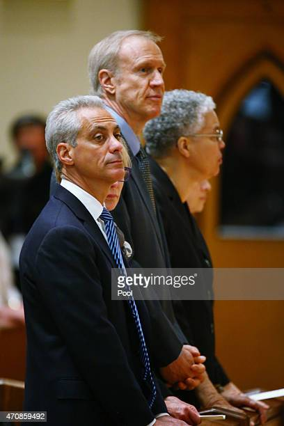 Chicago Mayor Rahm Emanuel his wife Amy Rule Illinois Gov Bruce Rauner and Cook County Board President Toni Preckwinkel attend the funeral Mass of...