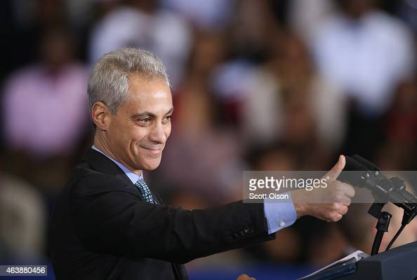 Chicago Mayor Rahm Emanuel introduces President Barack Obama at the Gwendolyn Brooks College Preparatory Academy on February 19 2015 in Chicago...