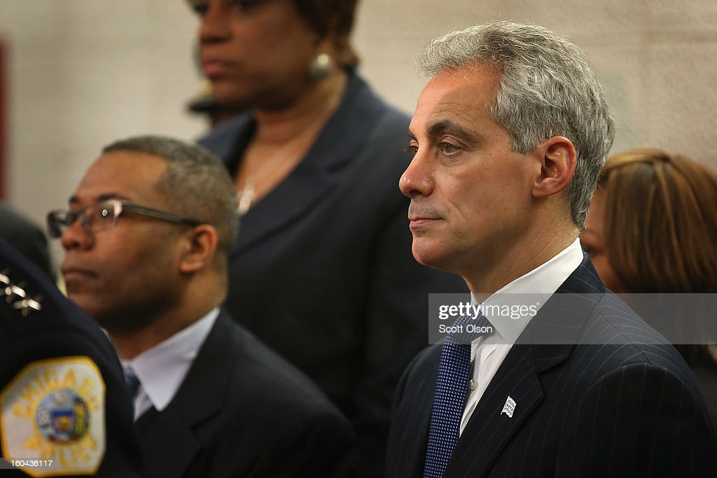 Chicago Mayor Rahm Emanuel (R) listens as Police Superintendant Garry McCarthy discusses a plan to reassign 200 police officers from administrative duties back to patrol duties during a press conference on January 31, 2013 in Chicago, Illinois. Chicago has been faced with a rising murder rate largely attributed to an increase in gang related violence. Last year the city had more than 500 murders. The city has had more than 40 murders in January 2013, surpassing the total for January 2012.