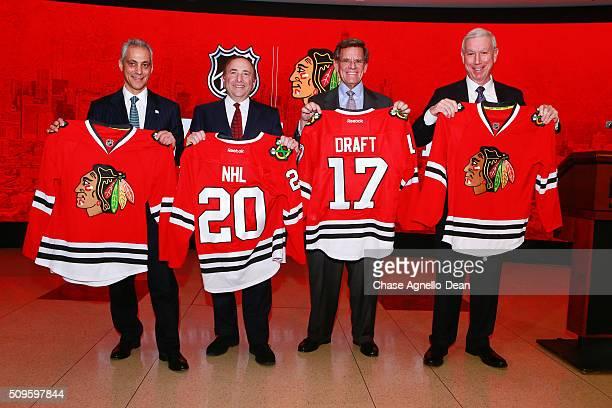 Chicago Mayor Rahm Emanuel NHL Commissioner Gary Bettman Chicago Blackhawks Owner Rocky Wirtz and Chicago Blackhawks President CEO John McDonough...