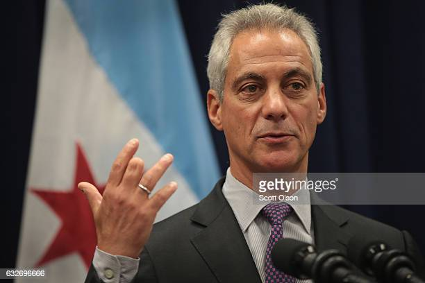Chicago Mayor Rahm Emanuel speaks at a press conference where he addressed issues related to the city's murder rate and the city's Sanctuary City...