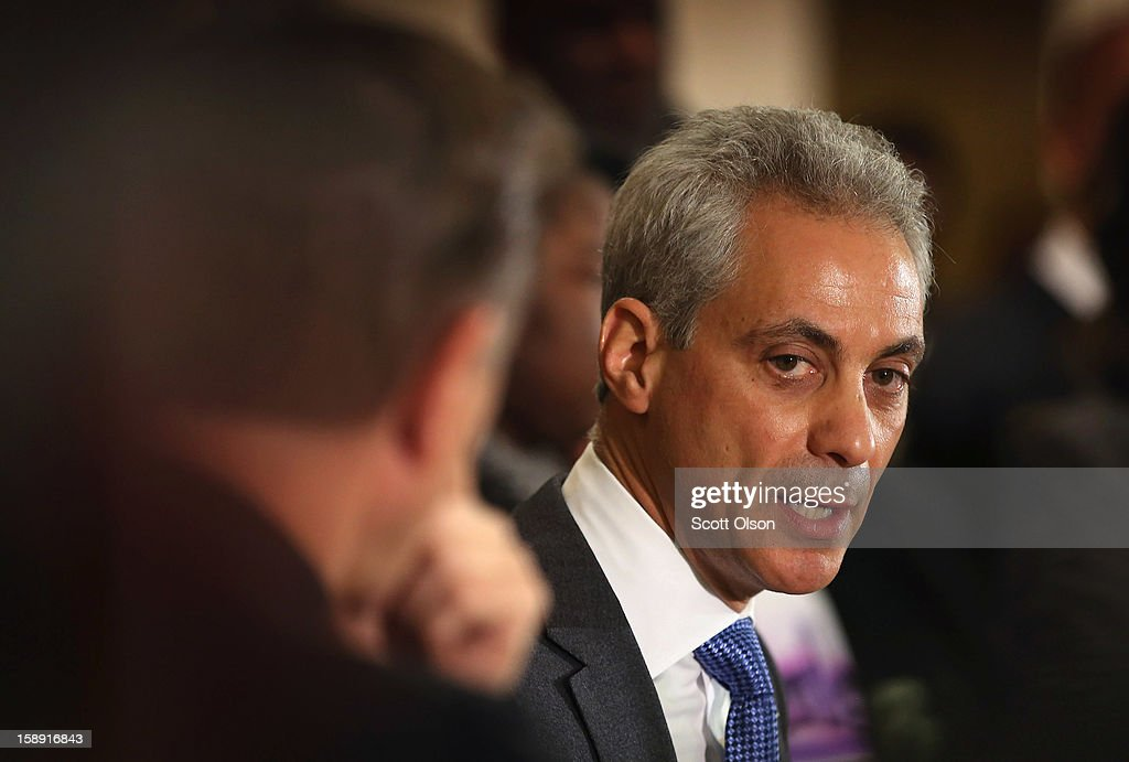 Chicago Mayor <a gi-track='captionPersonalityLinkClicked' href=/galleries/search?phrase=Rahm+Emanuel&family=editorial&specificpeople=753774 ng-click='$event.stopPropagation()'>Rahm Emanuel</a> speaks during a press conference with community leaders and family members of murder victims at St. Sabina Church January 3, 2013 in Chicago, Illinois. During the press conference Emanuel called for stronger gun regulations including a ban on assault weapons. In 2012 Chicago reported 506 murders. In the first 3 days of 2013 Chicago has had 5 murders.