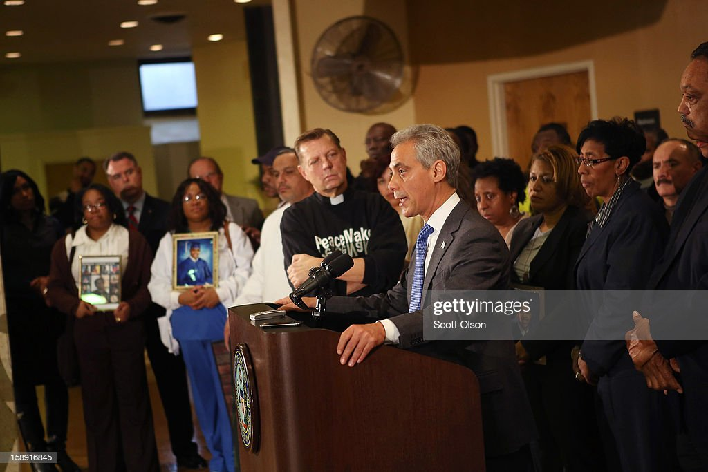 Chicago Mayor Rahm Emanuel speaks during a press conference with community leaders and family members of murder victims at St. Sabina Church January 3, 2013 in Chicago, Illinois. During the press conference Emanuel called for stronger gun regulations including a ban on assault weapons. In 2012 Chicago reported 506 murders. In the first 3 days of 2013 Chicago has had 5 murders.