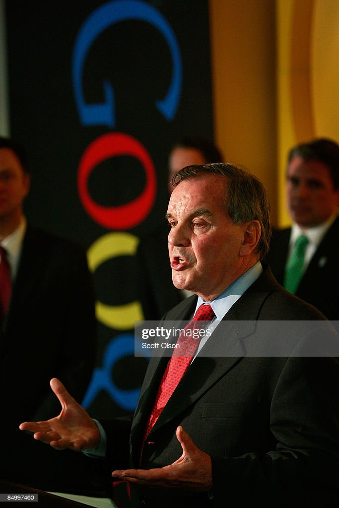 Chicago Mayor Richard M. Daley launches his YouTube channel during a press conference at the Google Chicago office February 23, 2009 in Chicago, Illinois. The channel will offer a behind the scenes look at the Mayor's duties.