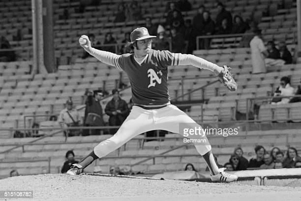 Oakland A's pitcher Jim 'Catfish' Hunter pitching in the Chicago White SoxOakland A's game
