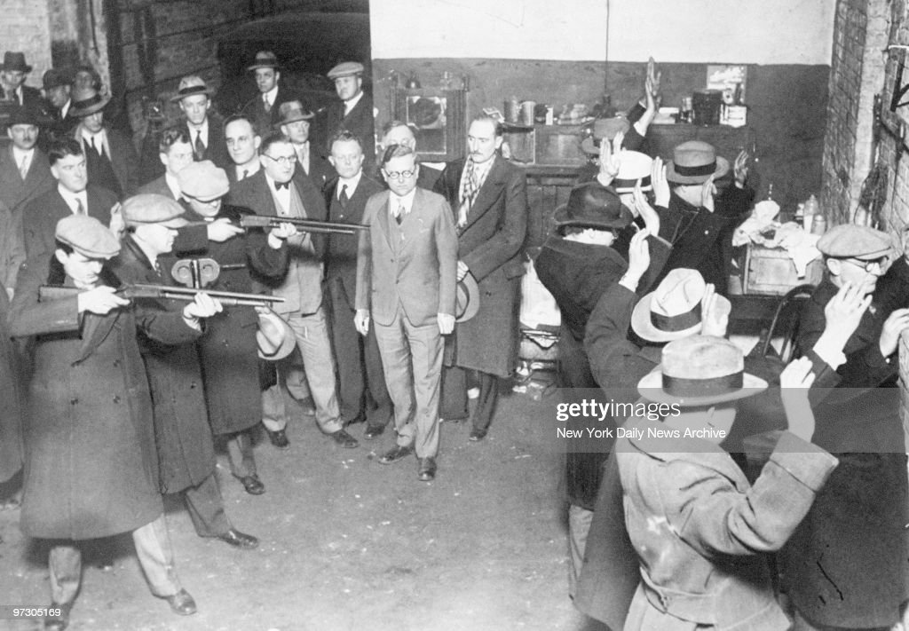 Chicago officials re-enact St. Valentine's Day massacre, the most atrocious in Chicago's history, which was planned in Al (Scarface) Capone's Florida residence.