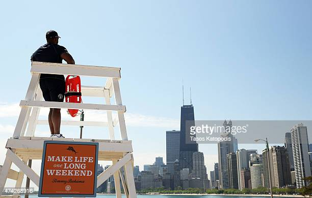 Chicago Park District Lifeguards at North Avenue Beach on May 21 2015 in Chicago Illinois