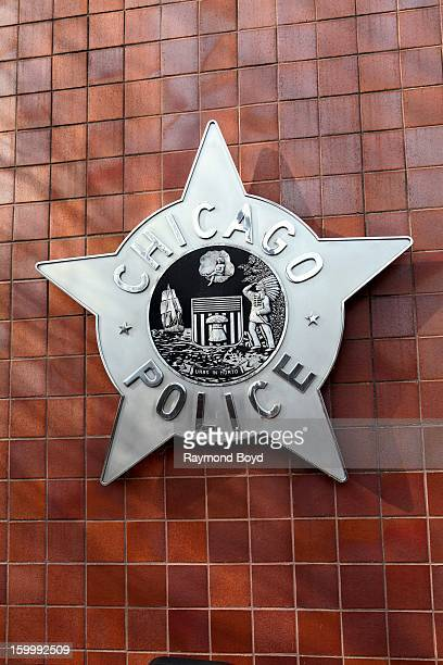 Chicago Police badge is displayed on front of the City Of Chicago Public Safety Headquarters in Chicago Illinois on JANAURY 19 2013