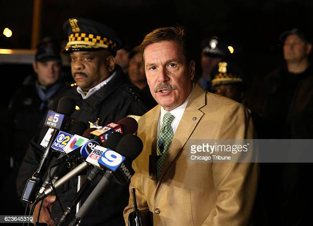 Chicago Police Cmdr Kevin Duffin foreground speaks during a press conference on Tuesday Nov 15 2016 in Garfield Park in Chicago Ill where it was...