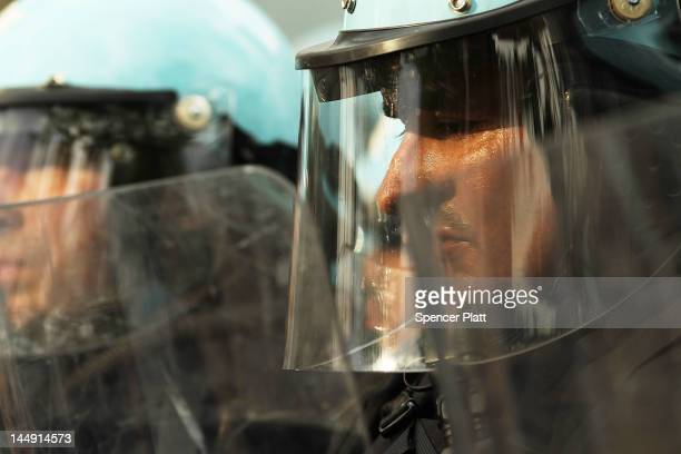 Chicago Police officer pauses while confronting protesters near the Nato conference venue on the first day of the Nato summit on May 20 2012 in...