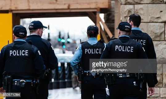 Chicago Police Officers On Patrol : Stock Photo