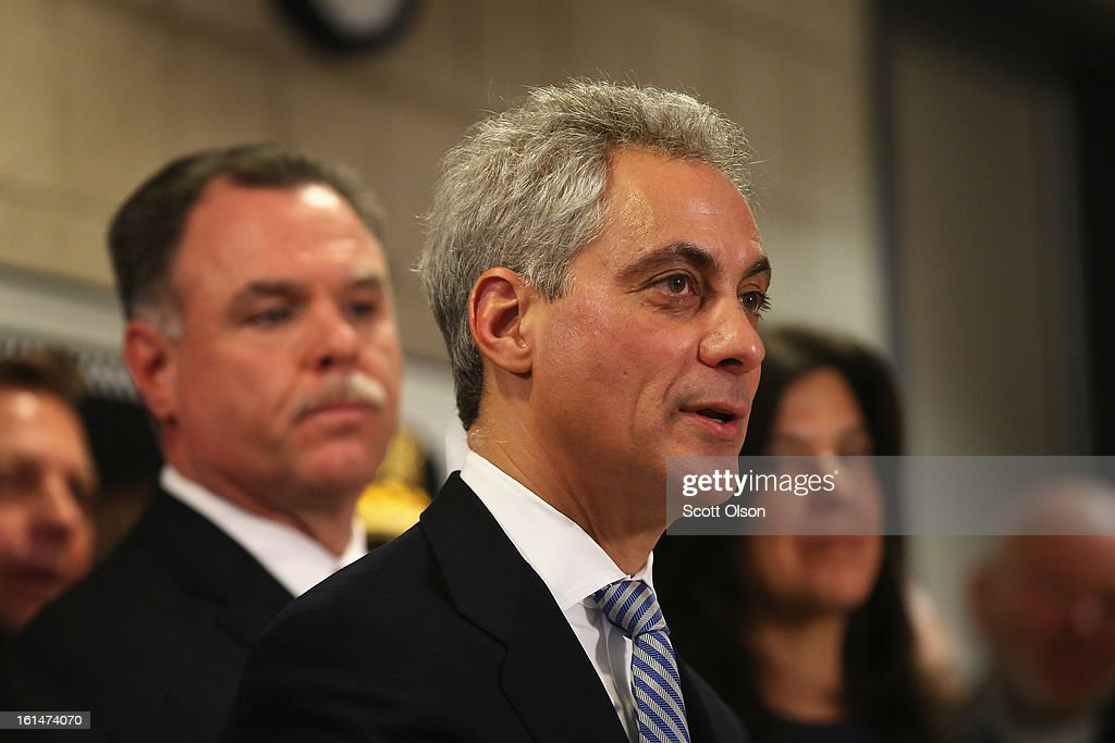 Chicago Police Superintendant <a gi-track='captionPersonalityLinkClicked' href=/galleries/search?phrase=Garry+McCarthy&family=editorial&specificpeople=6268988 ng-click='$event.stopPropagation()'>Garry McCarthy</a> (L) listens as Mayor <a gi-track='captionPersonalityLinkClicked' href=/galleries/search?phrase=Rahm+Emanuel&family=editorial&specificpeople=753774 ng-click='$event.stopPropagation()'>Rahm Emanuel</a> speaks during a press conference which they called to promote a plan to push for an increase in mandatory minimum sentencing for serious gun crimes in an effort to combat the city's growing gun violence problem on February 11, 2013 in Chicago, Illinois. President Barack Obama is expected to speak about the city's growing gun violence problem during a visit to Chicago on Friday. Last year the city had more than 500 murders.