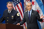 Chicago Police Superintendent Garry McCarthy and Mayor Rahm Emanuel arrive for a press conference to address the arrest of Chicago Police officer...