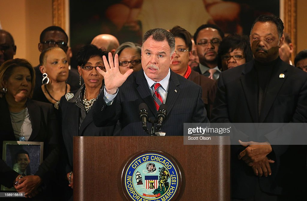 Chicago Police Superintendent <a gi-track='captionPersonalityLinkClicked' href=/galleries/search?phrase=Garry+McCarthy&family=editorial&specificpeople=6268988 ng-click='$event.stopPropagation()'>Garry McCarthy</a> (C), flanked by Rev. Jesse Jackson (R), speaks during a press conference with community leaders and family members of murder victims at St. Sabina Church January 3, 2013 in Chicago, Illinois. During the press conference Chicago mayor Rahm Emanuel called for stronger gun regulations including a ban on assault weapons. In 2012 Chicago reported 506 murders. In the first 3 days of 2013 Chicago has had 5 murders.