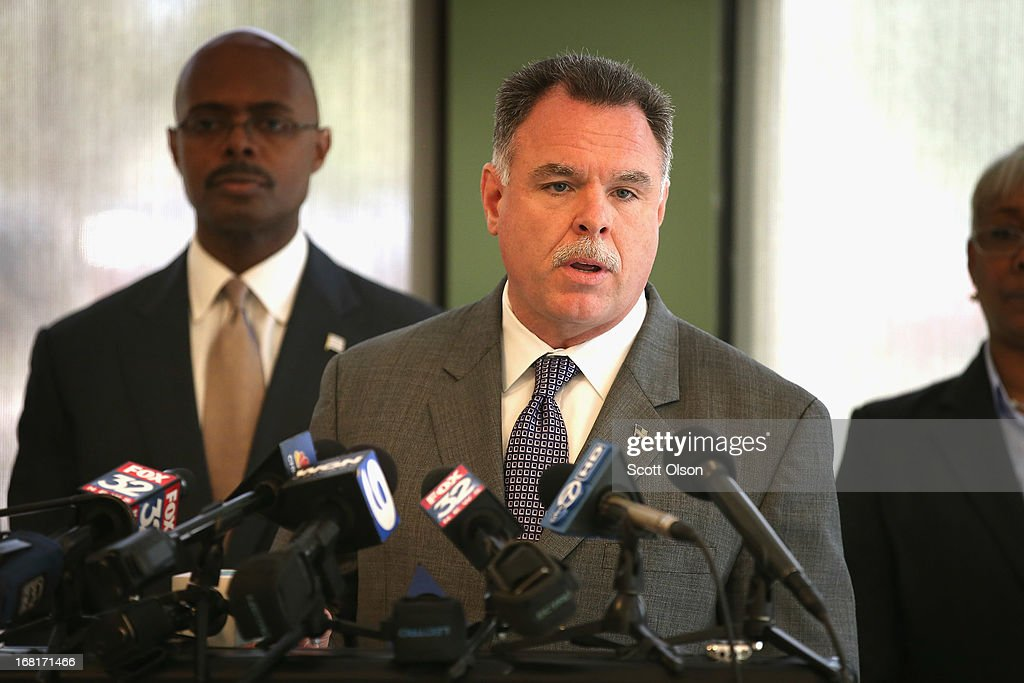 Chicago Police Superintendent <a gi-track='captionPersonalityLinkClicked' href=/galleries/search?phrase=Garry+McCarthy&family=editorial&specificpeople=6268988 ng-click='$event.stopPropagation()'>Garry McCarthy</a> holds a press conference at a police station in the Englewood neighborhood on May 6, 2013 in Chicago, Illinois. On Saturday about a mile from the station where McCarthy spoke, 47-year-old Denise Warfield was found stabbed to death inside as abandoned church building. Less than two blocks from Warfield's murder, three men were shot while walking near the First Mennonite Church of Chicago shortly after midnight Monday morning.