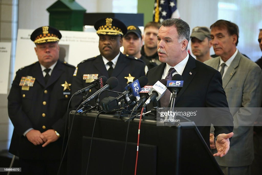 Chicago Police Superintendent <a gi-track='captionPersonalityLinkClicked' href=/galleries/search?phrase=Garry+McCarthy&family=editorial&specificpeople=6268988 ng-click='$event.stopPropagation()'>Garry McCarthy</a> holds a press conference to announce his department had seized more than 2,500 illegal firearms in 2013 on May 13, 2013 in Chicago, Illinois. Three people were shot and killed and at least six others were wounded in gun violence in the city this past weekend.