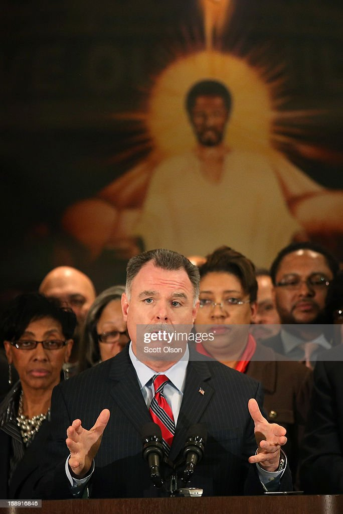 Chicago Police Superintendent <a gi-track='captionPersonalityLinkClicked' href=/galleries/search?phrase=Garry+McCarthy&family=editorial&specificpeople=6268988 ng-click='$event.stopPropagation()'>Garry McCarthy</a> speaks during a press conference with community leaders and family members of murder victims at St. Sabina Church January 3, 2013 in Chicago, Illinois. During the press conference McCarthy called for stronger gun regulations including a ban on assault weapons. In 2012 Chicago reported 506 murders. In the first 3 days of 2013 Chicago has had 5 murders.