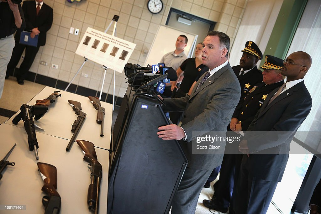 Chicago Police Superintendent <a gi-track='captionPersonalityLinkClicked' href=/galleries/search?phrase=Garry+McCarthy&family=editorial&specificpeople=6268988 ng-click='$event.stopPropagation()'>Garry McCarthy</a> stands in front of a small display of guns during a press conference in the Englewood neighborhood on May 6, 2013 in Chicago, Illinois. McCarthy said Chicago police confiscate on average more than 130 illegal guns each week. On Saturday about a mile from the police station where McCarthy spoke, 47-year-old Denise Warfield was found stabbed to death inside as abandoned church building. Less than two blocks from Warfield's murder, three men were shot while walking near the First Mennonite Church of Chicago shortly after midnight Monday morning.