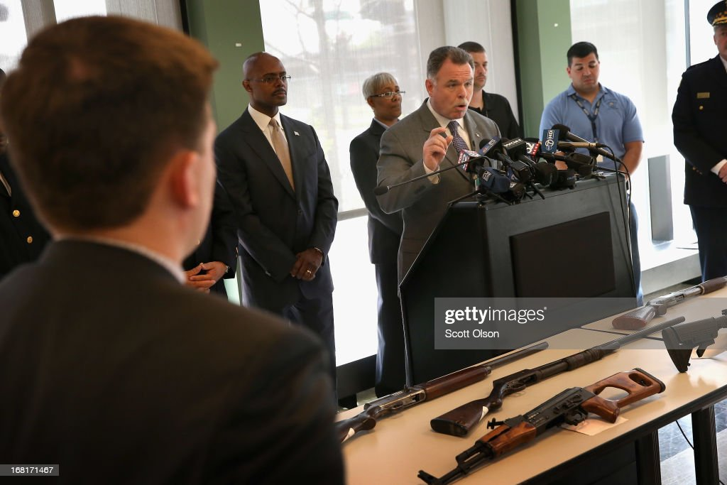 Chicago Police Superintendent Garry McCarthy stands in front of a small display of guns during a press conference in the Englewood neighborhood on May 6, 2013 in Chicago, Illinois. McCarthy said Chicago police confiscate on average more than 130 illegal guns each week. On Saturday about a mile from the police station where McCarthy spoke, 47-year-old Denise Warfield was found stabbed to death inside as abandoned church building. Less than two blocks from Warfield's murder, three men were shot while walking near the First Mennonite Church of Chicago shortly after midnight Monday morning.