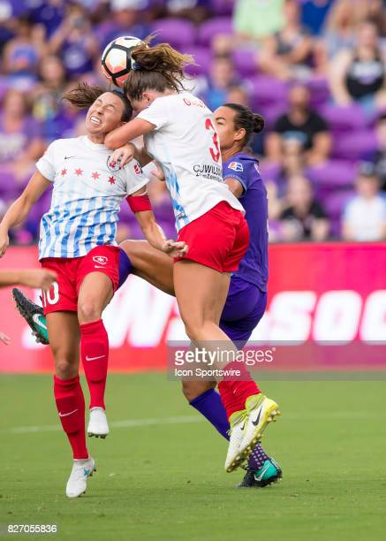 Chicago Red Stars defender Arin Gilliland heads away a corner kick during the NWSL soccer match between the Orlando Pride and the Chicago Red Stars...