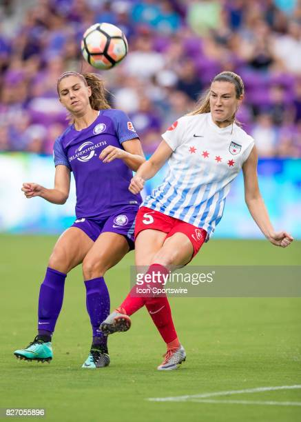Chicago Red Stars defender Kathleen Naughton clears a ball on defense during the NWSL soccer match between the Orlando Pride and the Chicago Red...