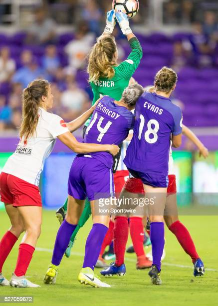 Chicago Red Stars goalkeeper Alyssa Naeher punch saves a goal during the NWSL soccer match between the Orlando Pride and the Chicago Red Stars on...