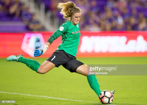 Chicago Red Stars goalkeeper Alyssa Naeher takes a goal kick during the NWSL soccer match between the Orlando Pride and the Chicago Red Stars on...