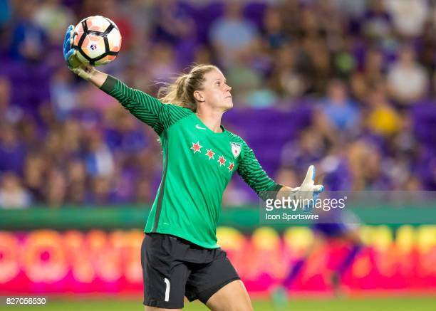 Chicago Red Stars goalkeeper Alyssa Naeher throws a hand pass during the NWSL soccer match between the Orlando Pride and the Chicago Red Stars on...