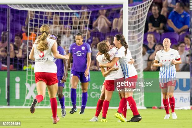 Chicago Red Stars scores to tie up the game during the NWSL soccer match between the Orlando Pride and the Chicago Red Stars on August 5th 2017 at...
