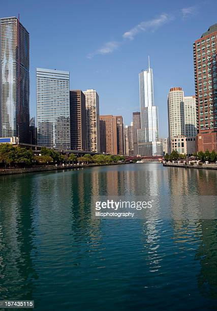 Chicago River and Skyscrapers in Downtown District