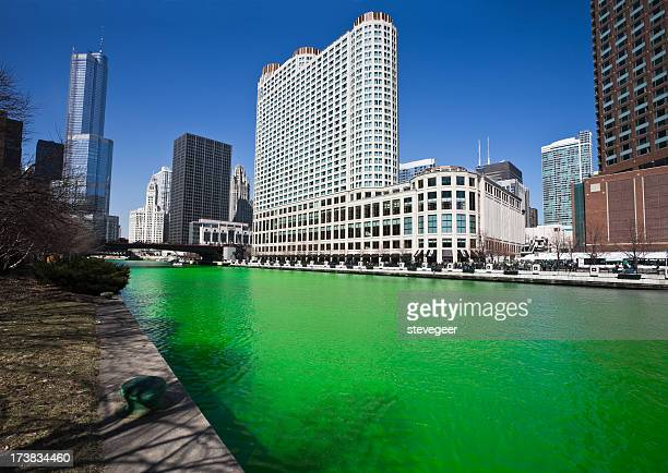 Chicago River on Saint Patricks Day