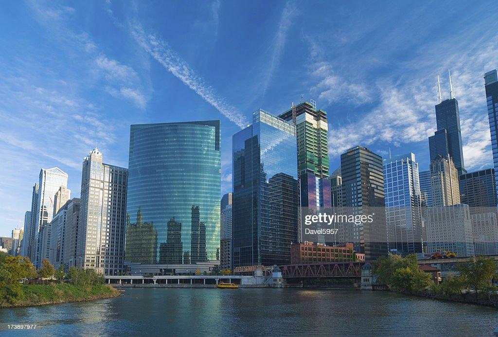 Chicago River skyline : Stock Photo
