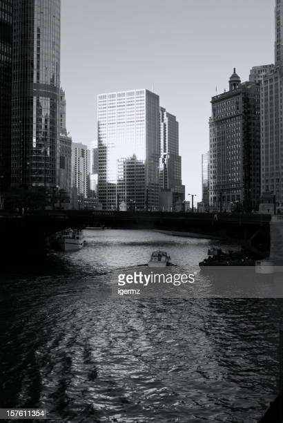 Chicago River Sunset Reflection Wake