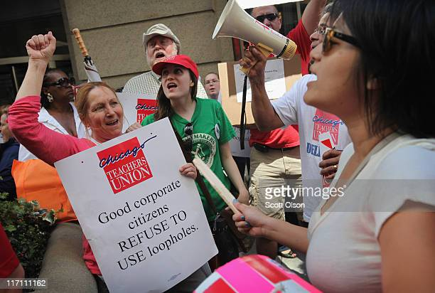 Chicago school teachers demonstrate June 22 2011 in Chicago Illinois Hundreds of teachers joined in the protest outside the offices of the Chicago...