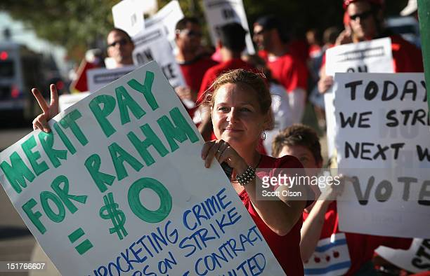Chicago school teachers picket outside Lane Tech College Prep High School on September 11 2012 in Chicago Illinois More than 26000 teachers and...