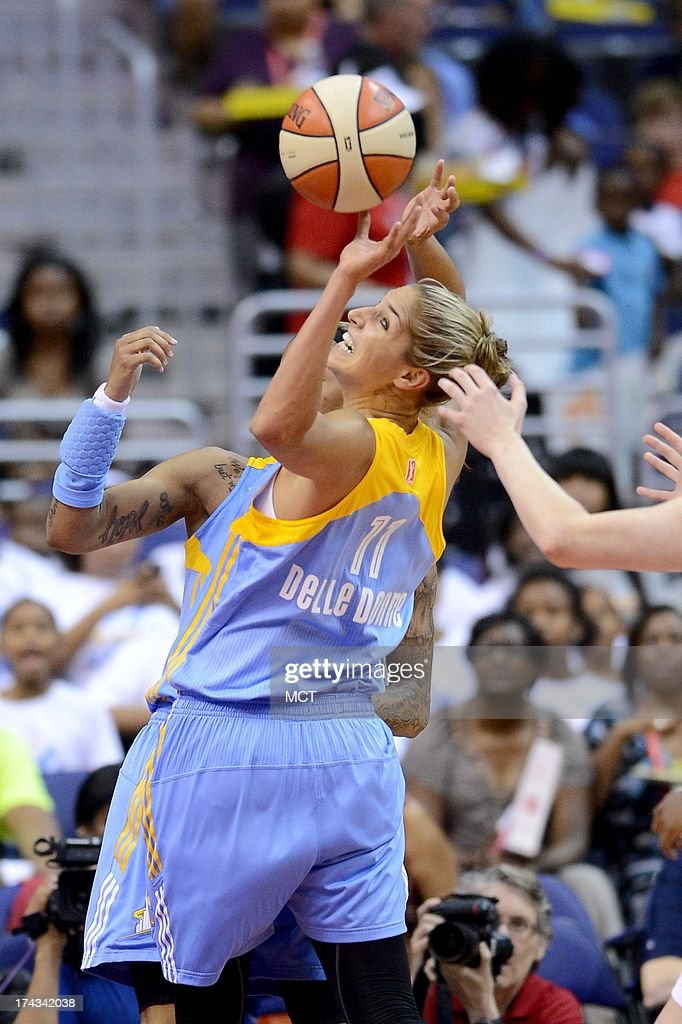 Chicago Sky forward Elena Delle Donne (11) reaches back for a rebound in the first quarter against the Washington Mystics at the Verizon Center in Washington, D.C., Wednesday, July 24, 2013,