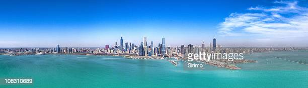 Chicago Skyline, Aerial HDR Panorama