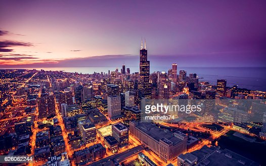 Chicago skyline aerial view at dusk : Stock Photo