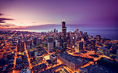 Chicago skyline aerial view at dusk, United States