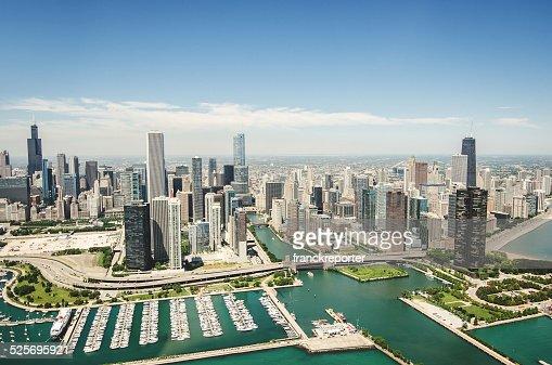 空から見たシカゴの街並み