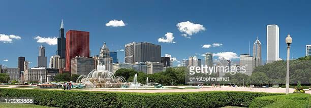 Chicago Skyline and Buckingham Fountain Panorama