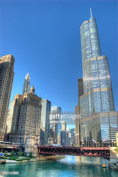 Chicago Skyline and River with Trump Tower
