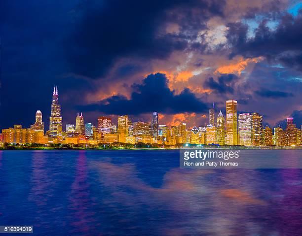 Chicago skyline at dusk (P)